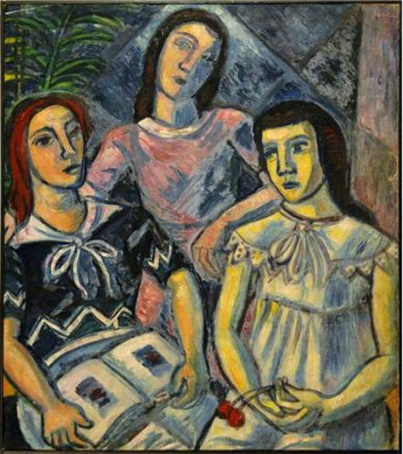 Hungry Sisters. Oil on canvas, 30 x 27 inches.Circa 1958.