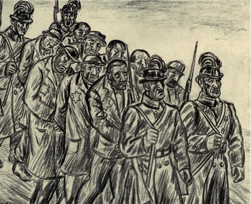 Tibor Jankay, Deportati. Pencil or charcoal on paperCirca 1940s.