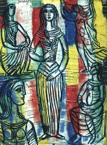 Tibor Jankay, Five Women in Classical Dress. Oil on masoninte.