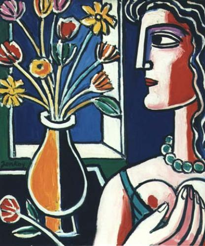 Profile of a Woman's Head with a Vase of Flowers, oil on masonite.