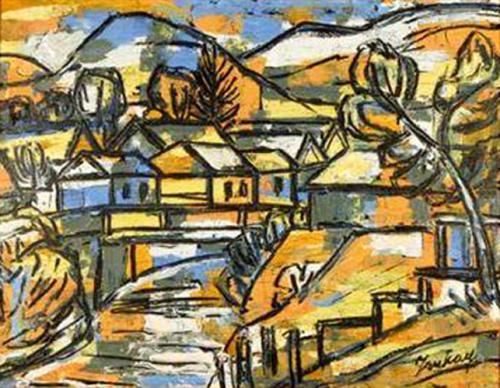 Tibor Jankay, Hungarian Countryside. Oil on board, Circa 1950-1960