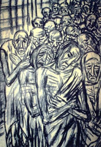 Tibor Jankay, charcoal drawing on paper.