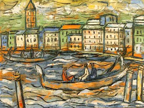 Tibor Jankay, Venice, Italy. Oil on Canvas.